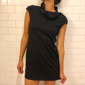 Classy Black Turtleneck Tunic Dress